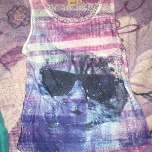 girls galaxy print cat tank top
